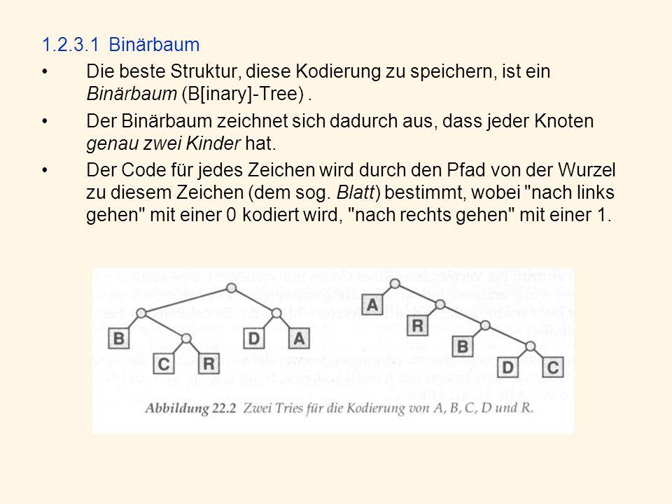 1.2.3.1 Binärbaum Die beste Struktur, diese Kodierung zu speichern, ist ein Binärbaum (B[inary]-Tree) .